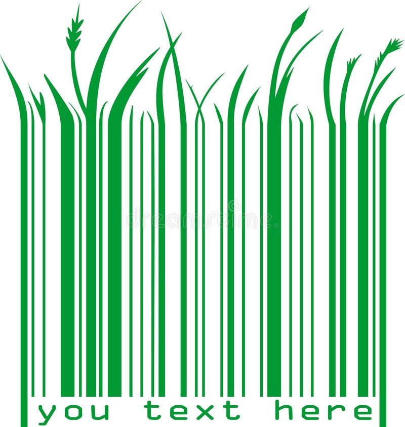 Código de barras verde com texto ilustração stock