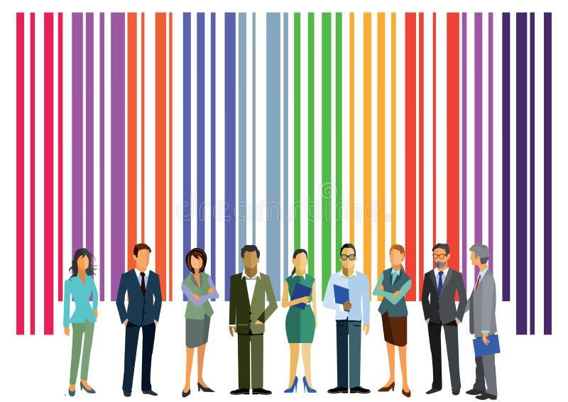 Código de barras y hombres de negocios libre illustration