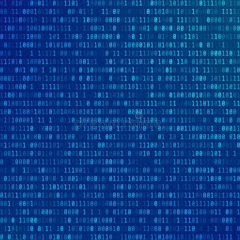 Código de computador binário Fundo abstrato da tecnologia Córrego dos zero e de uns Informação codificada de programação ilustração stock