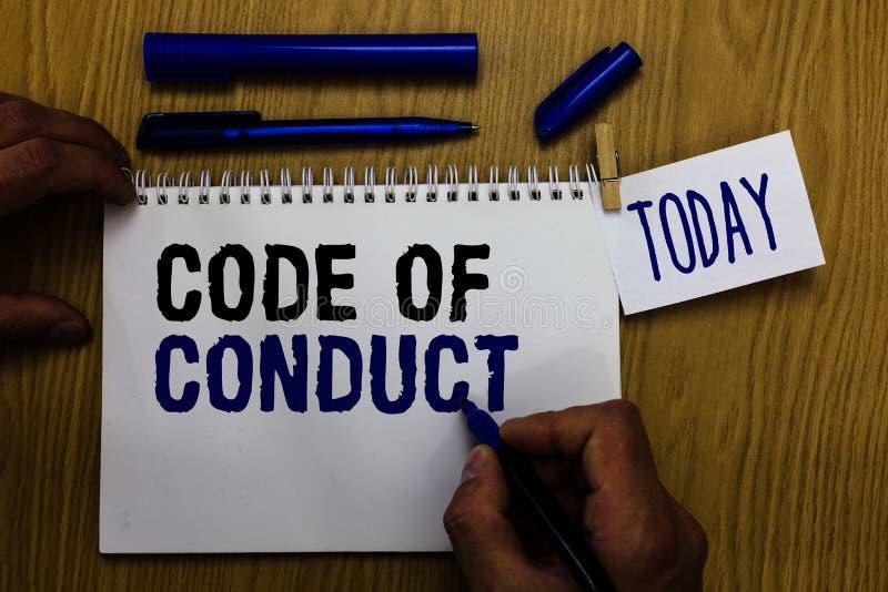 Código de conducta del texto de la escritura Los valores éticos de los principios de los códigos morales de las reglas de los éti fotos de archivo libres de regalías