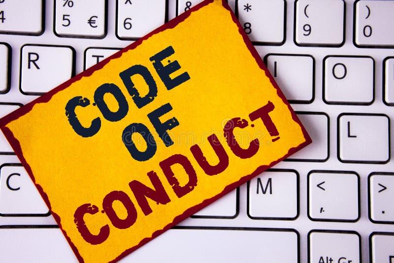 Código de conducta de la escritura del texto de la escritura El significado del concepto sigue principios y los estándares para l fotos de archivo libres de regalías