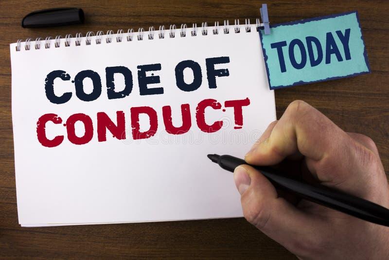 Código de conducta de la escritura del texto de la escritura El significado del concepto sigue principios y los estándares para l imágenes de archivo libres de regalías