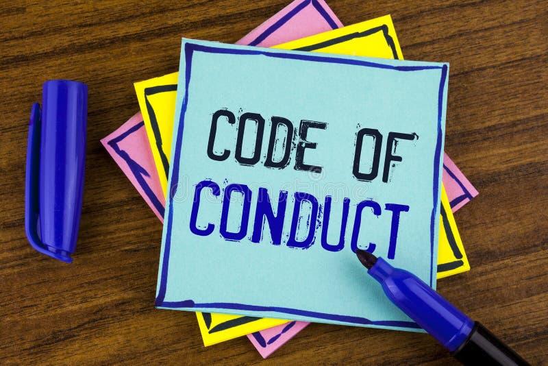 Código de conducta de la escritura del texto de la escritura El significado del concepto sigue principios y los estándares para l fotografía de archivo libre de regalías