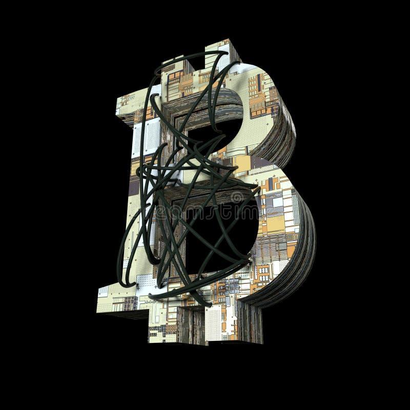 Código de dados da carteira do dinheiro de Bitcoin ilustração stock