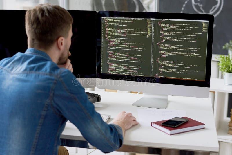 Código de examen del programador introspectivo fotos de archivo libres de regalías