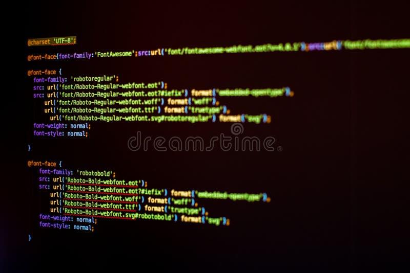 Código de HTML5 y del CSS imagen de archivo libre de regalías