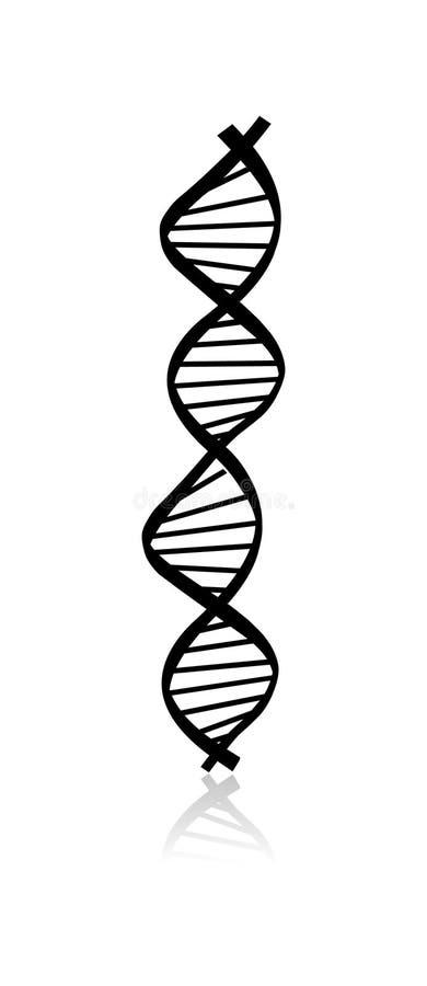 Código de la DNA Imagen del extracto de la DNA aislada en el fondo blanco stock de ilustración