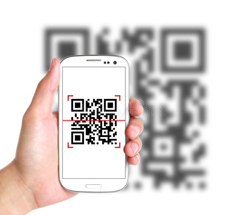 Código de la exploración QR con el teléfono elegante libre illustration