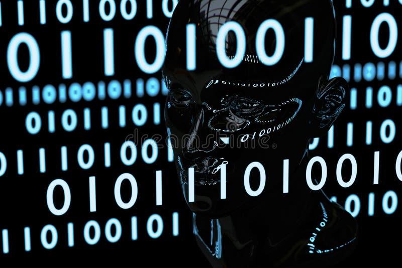 Código de la matriz y material de Chrome de la cabeza humana stock de ilustración