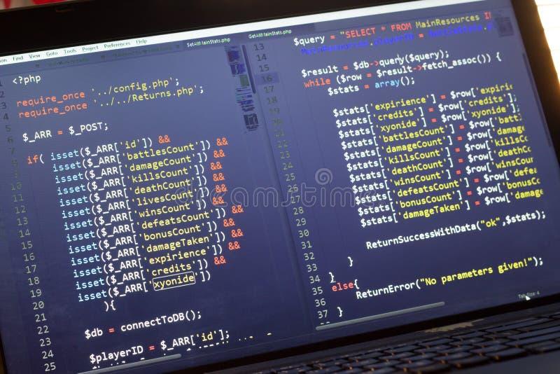 Código de la parte de atrás del PHP Código fuente de la programación informática Pantalla abstracta del desarrollador de web Fond imagen de archivo libre de regalías