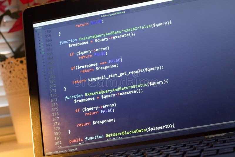 Código de la parte de atrás del PHP Código fuente de la programación informática Pantalla abstracta del desarrollador de web Fond fotos de archivo libres de regalías