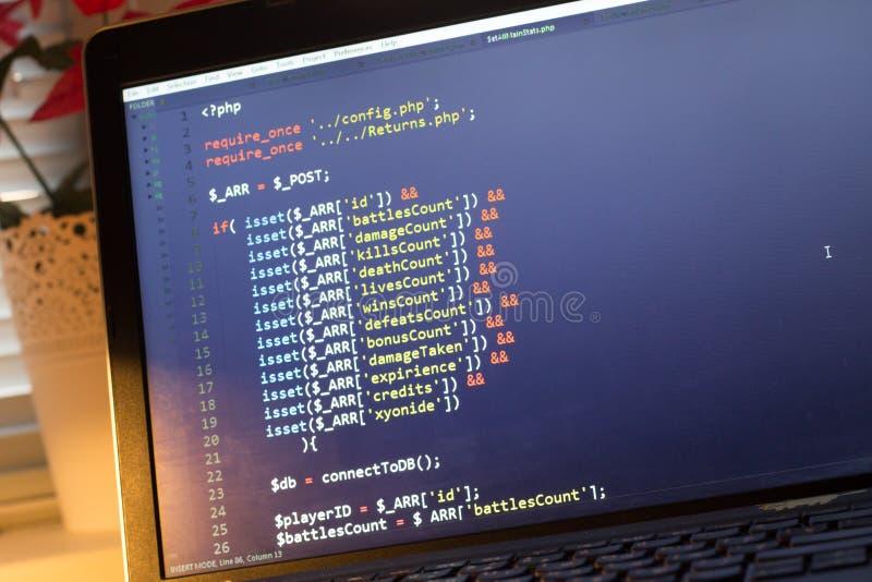 Código de la parte de atrás del PHP Código fuente de la programación informática Pantalla abstracta del desarrollador de web Fond fotografía de archivo