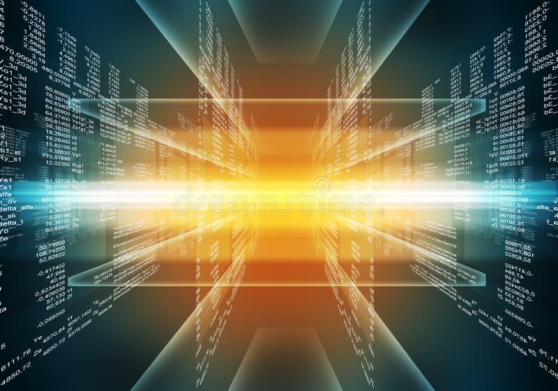 Código de ordenador azul y rojo binario stock de ilustración