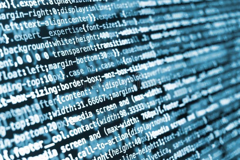 Código de programação do CSS na tela em tons azuis imagens de stock royalty free