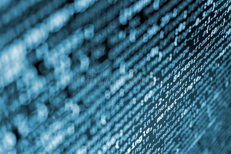 Código de programação do CSS na tela em tons azuis fotografia de stock