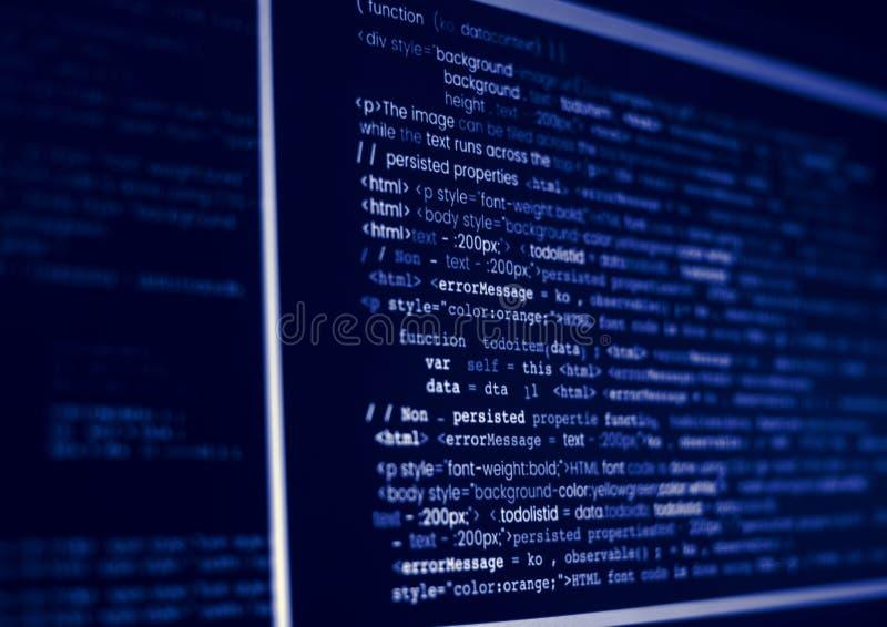 Código de programação no tela de computador fotos de stock
