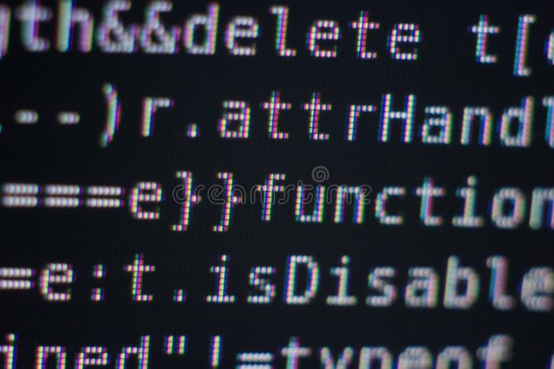 Código de programa en la pantalla imagen de archivo libre de regalías