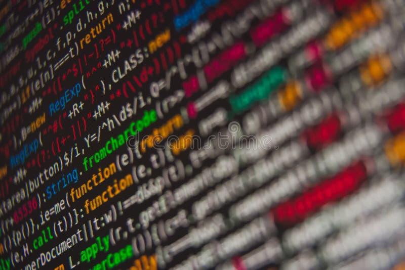 Código de programa en la pantalla fotos de archivo libres de regalías