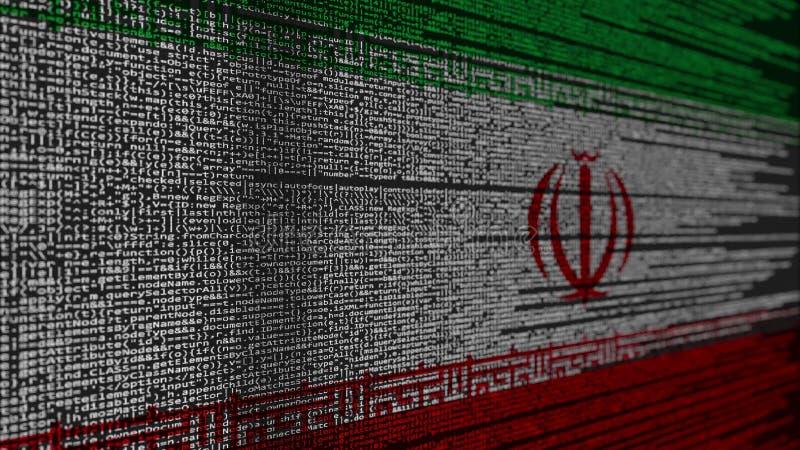 Código de programa y bandera de Irán Tecnología digital iraní o representación relacionada programada 3D stock de ilustración