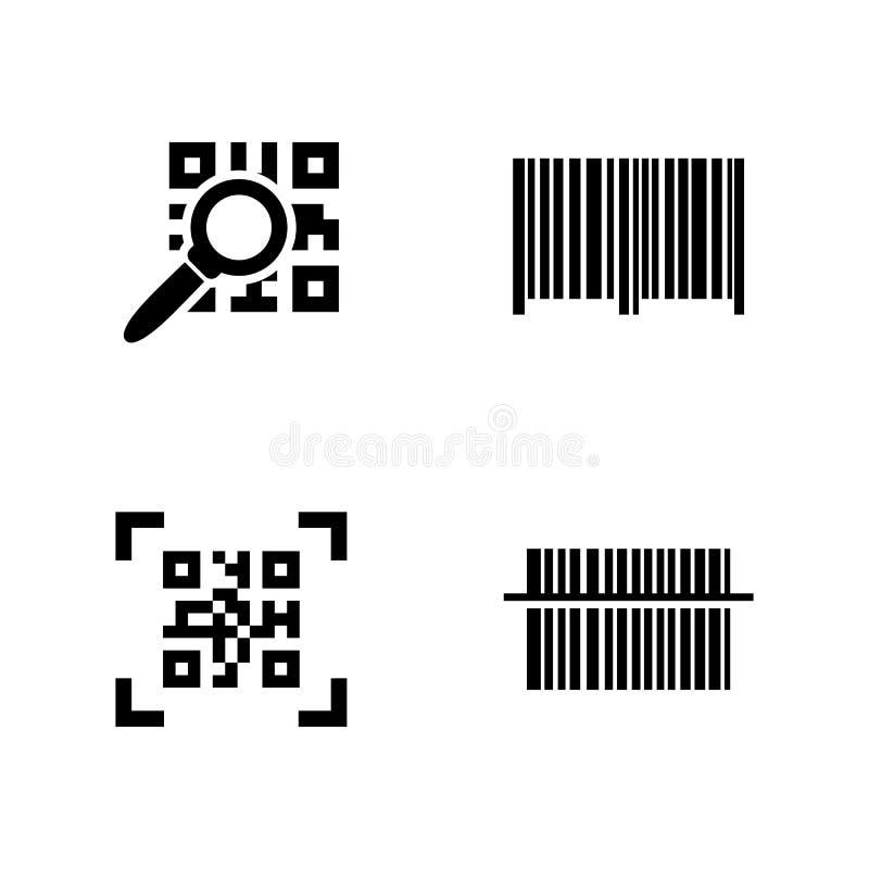 Código de QR Ícones relacionados simples do vetor ilustração royalty free