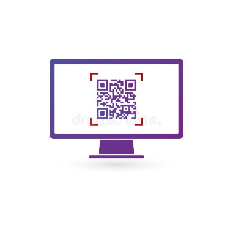 Código de Qr en la pantalla del monitor de computadora, ejemplo del vector aislado en el fondo blanco libre illustration