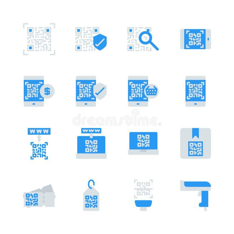 Código de Qr relativo no ícone liso ajustado Ilustra??o do vetor ilustração royalty free
