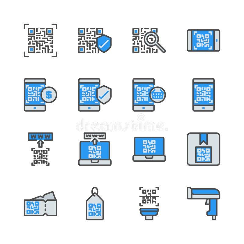 Código de Qr relativo no grupo do ícone do colorline Ilustra??o do vetor ilustração royalty free