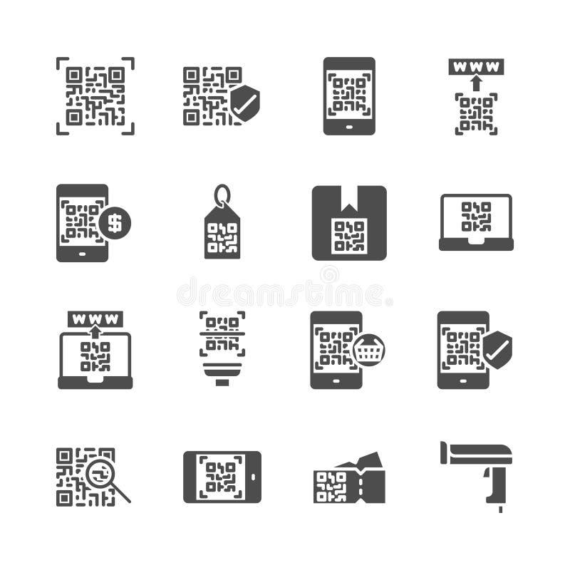 Código de Qr relativo no grupo do ícone do glyph Ilustra??o do vetor ilustração stock