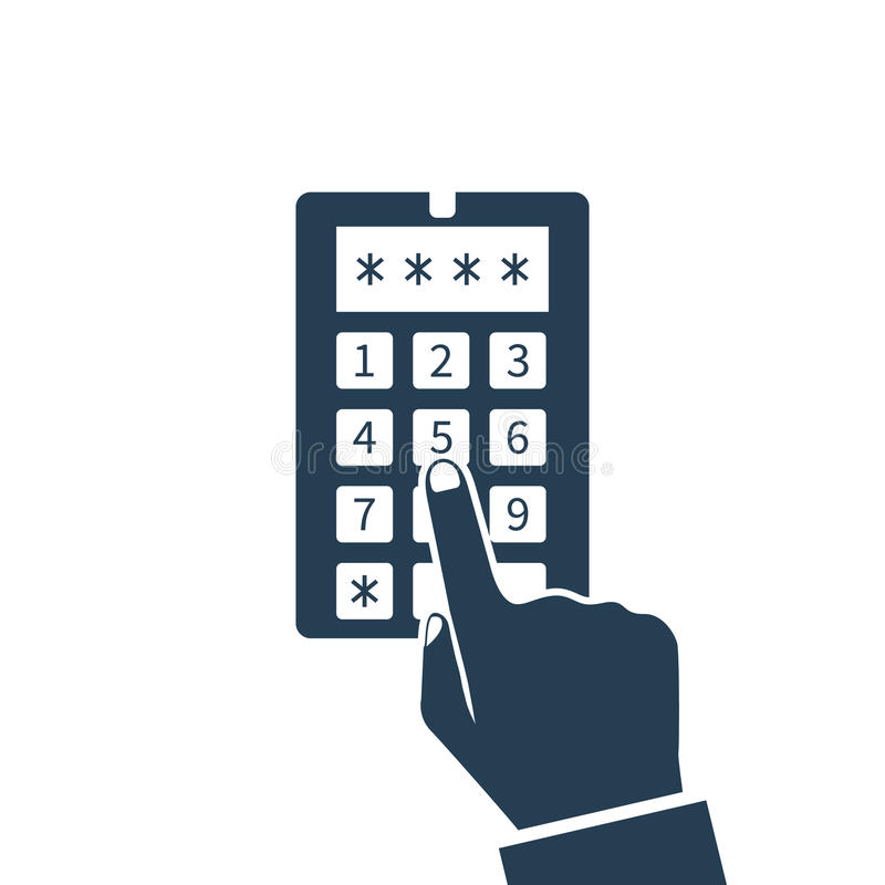 Código de sistema de seguridad, icono ilustración del vector