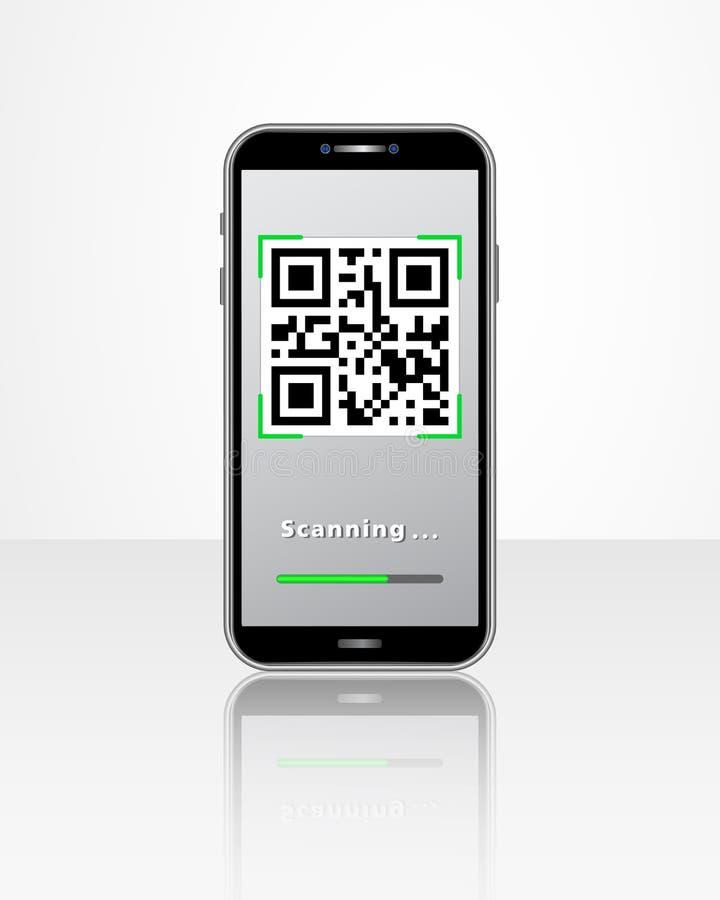 Código de varredura de QR usando o smartphone isolado na tabela lustrosa branca Em linha comprando, app móvel, conceito cashless  ilustração stock