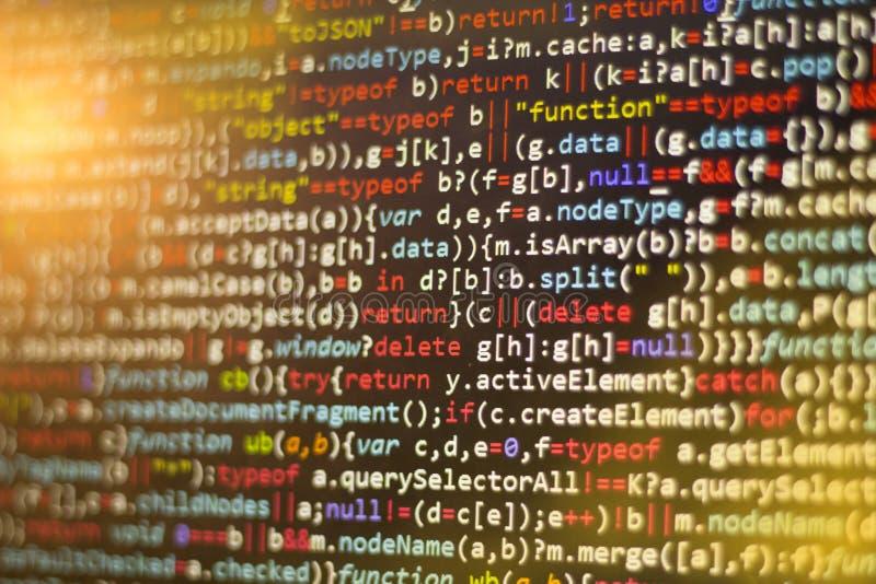 Código del Javascript de Minificated Pantalla del extracto del código fuente de la programación informática del desarrollador de  fotos de archivo libres de regalías