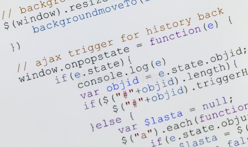 Código del Javascript del Web page en monitor del ordenador fotografía de archivo