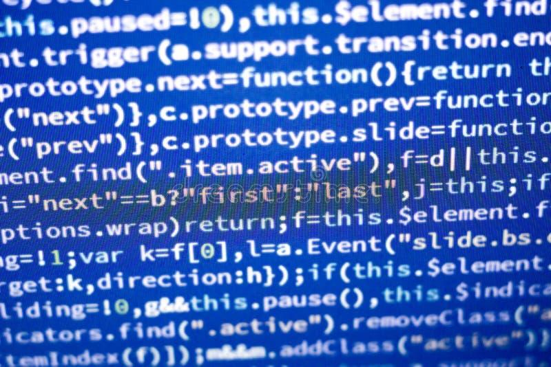 Código del Javascript Código fuente de la programación informática Pantalla abstracta del desarrollador de web con código que bri fotos de archivo libres de regalías