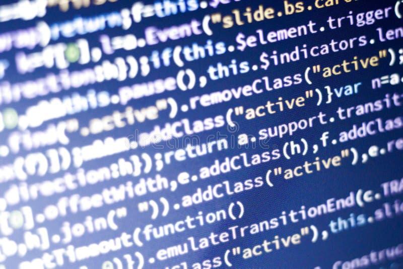 Código del Javascript Código fuente de la programación informática Pantalla abstracta del desarrollador de web con código que bri imágenes de archivo libres de regalías