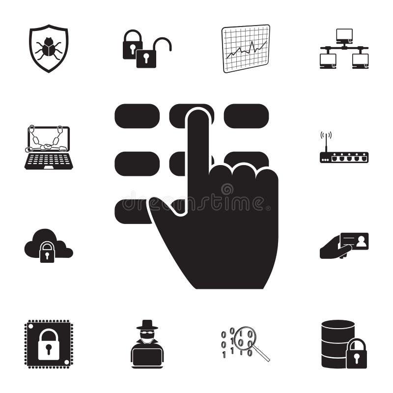 código del perno e icono de la mano Sistema detallado de iconos cibernéticos de la seguridad Muestra superior del diseño gráfico  stock de ilustración