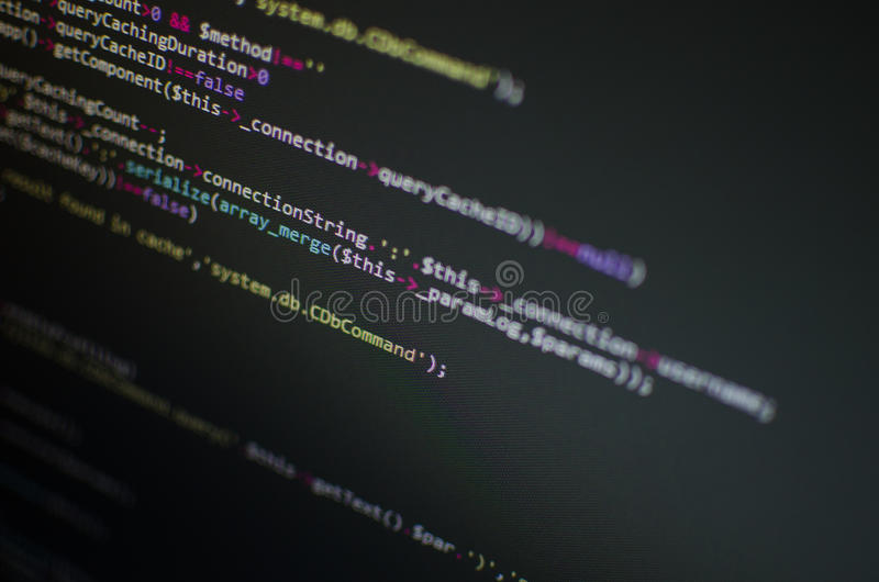 Código del PHP CSS en monitor imagen de archivo libre de regalías