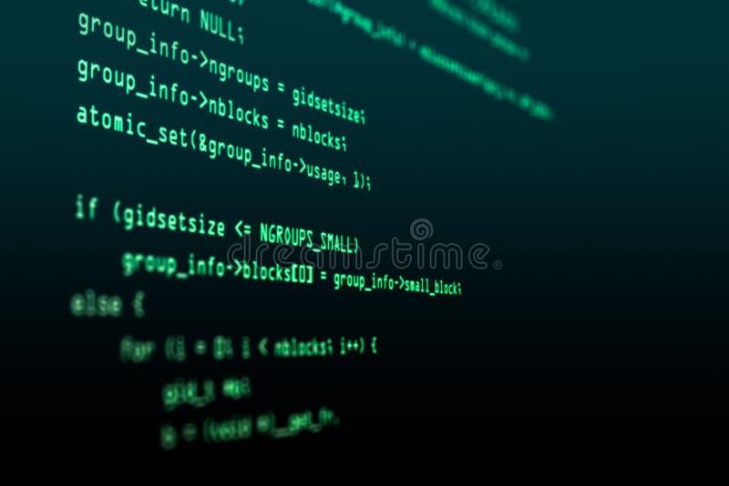 Código del pirata informático de ordenador Fondo moderno de la tecnología Software de la web Profundidad del campo baja, efecto d imagen de archivo