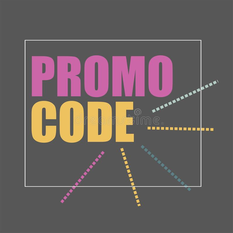 Código del promo, código de la cupón Ejemplo plano del diseño de la bandera del vector en negro libre illustration