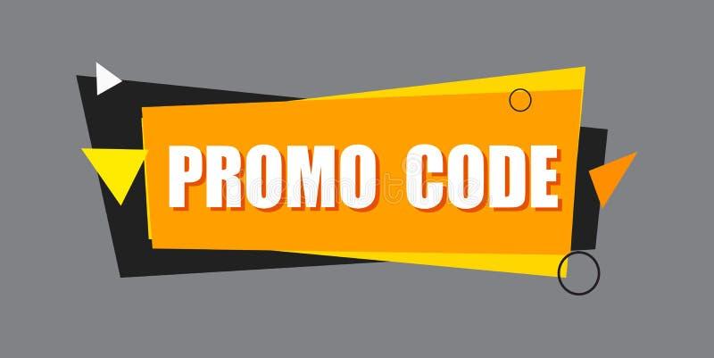 Código del promo, código de la cupón Ejemplo plano del diseño determinado del vector en el fondo blanco libre illustration
