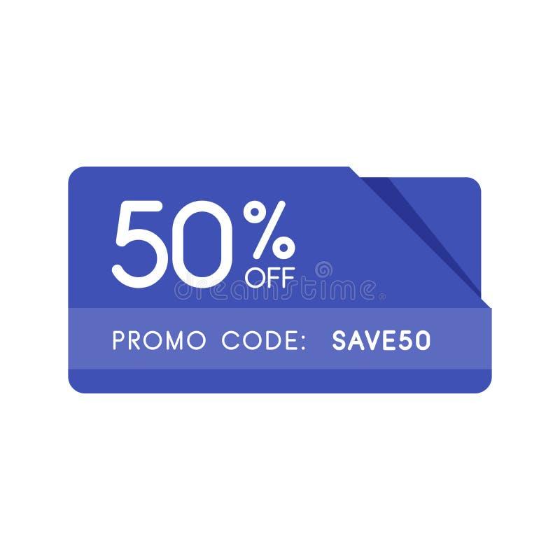 Código del promo, código de la cupón Ejemplo plano del diseño de la insignia del vector en el fondo blanco libre illustration