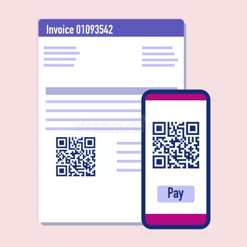 Código del qr de la exploración del teléfono para la factura del pago Vector libre illustration
