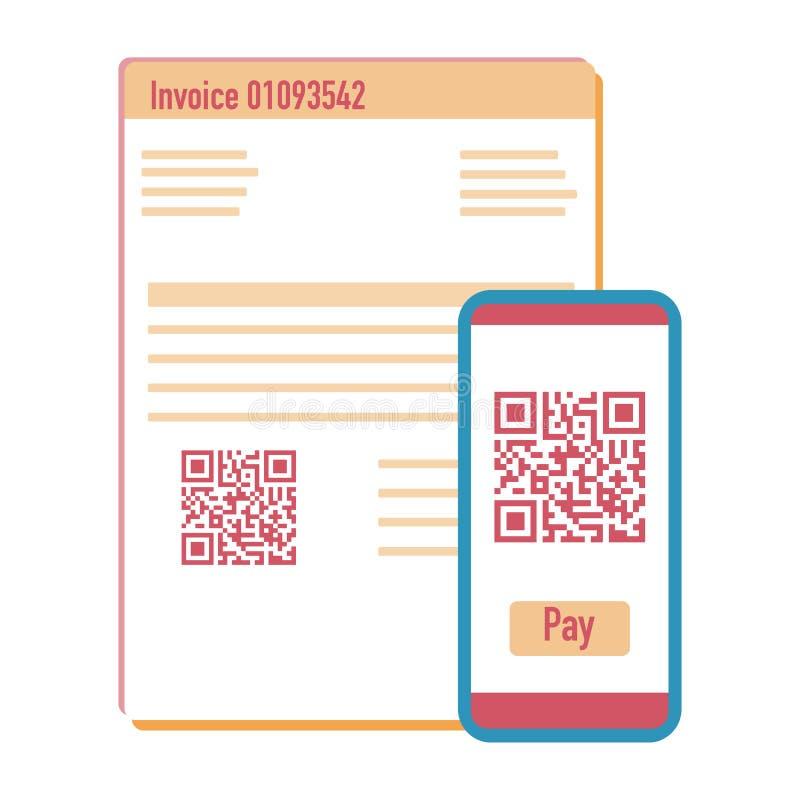 Código del qr de la exploración del teléfono para la factura del pago Vector ilustración del vector