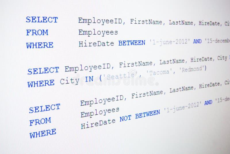Código del sintaxis del SQL imagen de archivo
