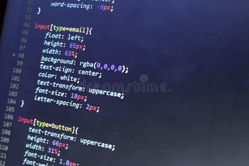 Código del stylesheet del CSS Pantalla del extracto del código fuente de la programación informática del desarrollador de web Fon fotografía de archivo