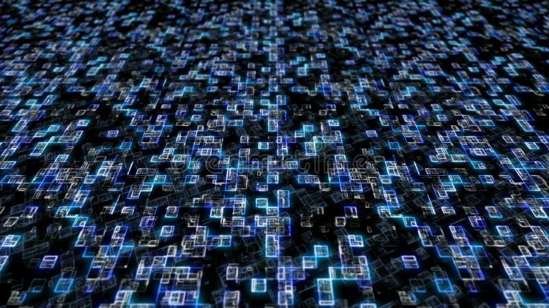 Código digital de los datos grandes hexadecimales azules Concepto futurista de la tecnología de la información ilustración 3D ilustración del vector