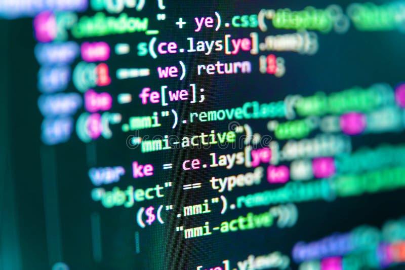 Código do Javascript no editor de texto Arquivo da origem de dados do PHP C foto de stock royalty free