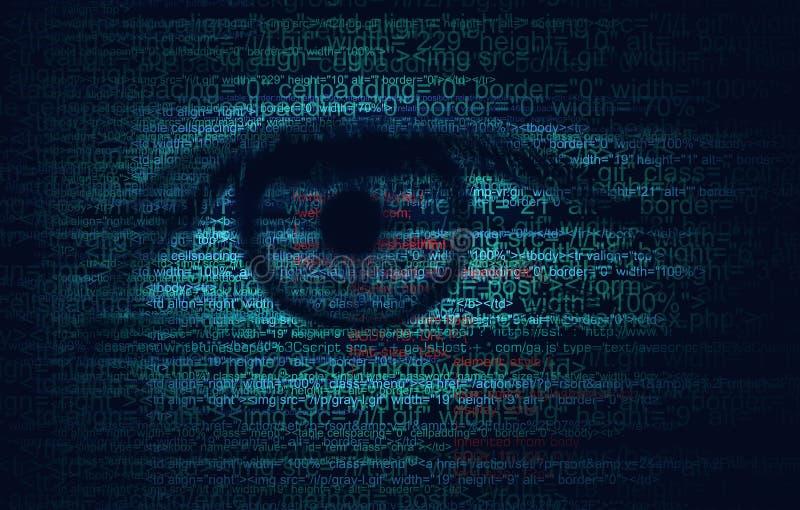 Código do programa da Web com olho humano - fundo do conceito ilustração do vetor