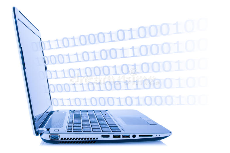 Código do programa que sai do portátil foto de stock royalty free