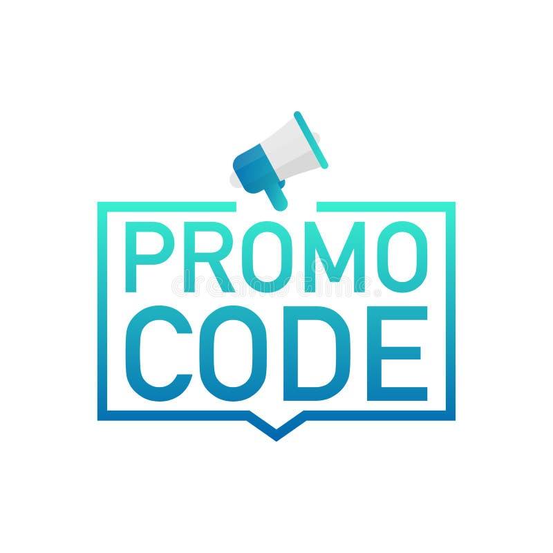 Código do Promo Crachá, marca no megafone Ilustrações lisas do vetor no fundo branco ilustração stock