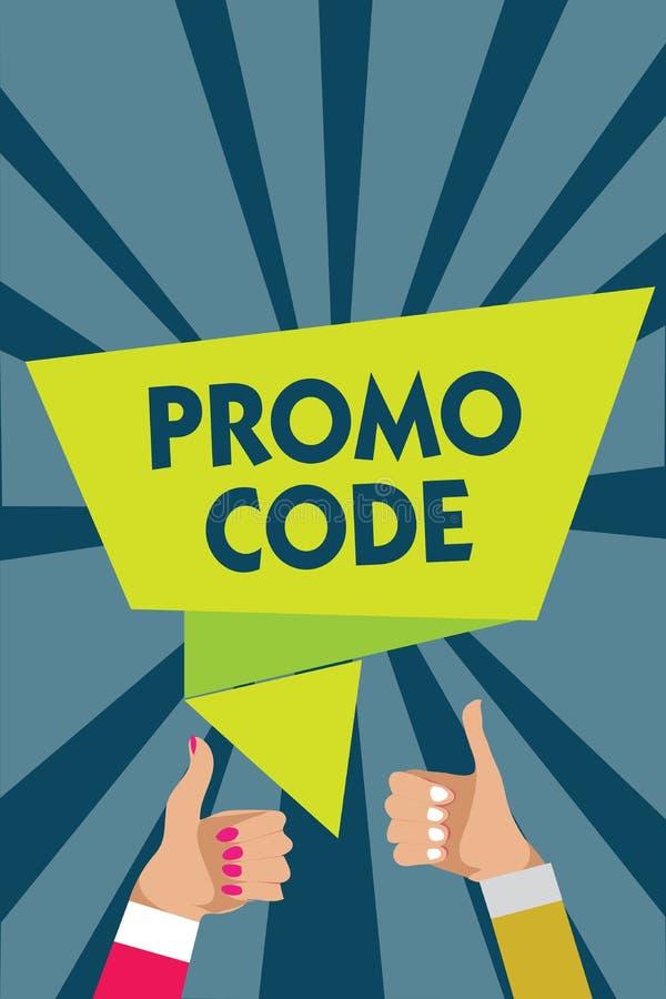 Código do Promo da escrita do texto da escrita Conceito que significa os números digitais que lhe dão o bom disconto em determina ilustração stock